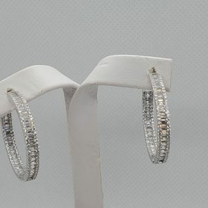 Sterling silver hoops  With  CZ